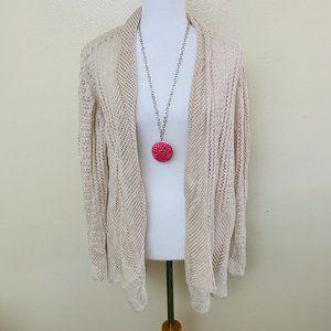 3/$30 Crochet Cardigan Plus 2X Oatmeal Open Front